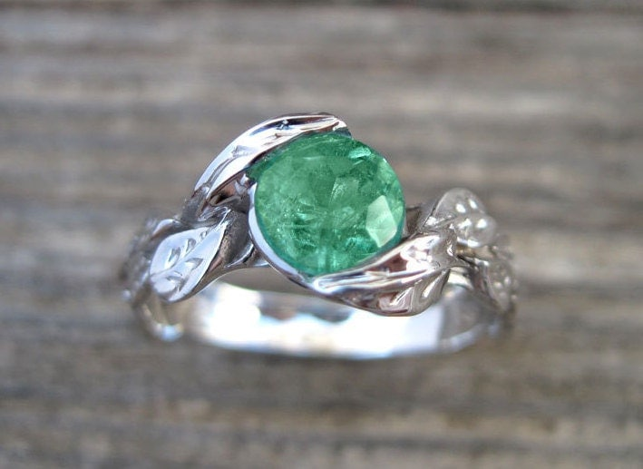 emerald engagement ring emerald leaf ring emerald leaf engagement ring emerald leaf wedding - Emerald Wedding Ring