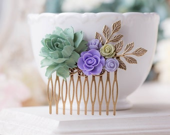Sage Green Lavender Purple Wedding Bridal Hair Comb Leaf Branch Floral Hair Comb Romantic Country Chic Garden Barn Wedding Hair Accessory