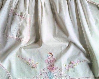Vintage handmade cotton apron with hand embroidery