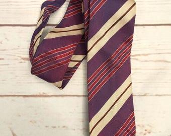 Purple Striped Tie - Vintage Striped Tie - Vintage Skinny Tie - 1970s Necktie - Vintage Menswear - 70s Striped Tie