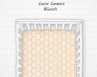 Crib Sheet, Changing Pad Cover, Crib Skirt, Lace Leaves Blush, Ivory, Fitted Sheet, Nursery Bedding, Crib Bedding, Rust Orange, Baby Bedding