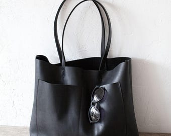 Xmas in July SALE Large Black Leather Tote bag No. LPB-1011