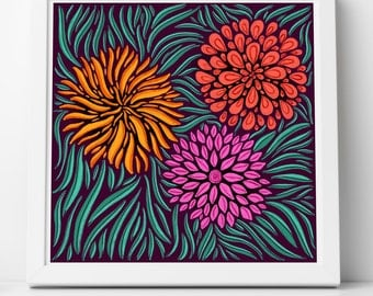 Floral Retro Illustration Giclee Fine Art Print
