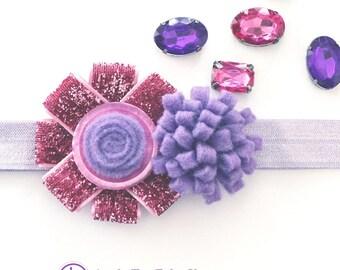 Purple Pink Baby Headband, Newborn Headband, Infant Headband, Sparkle Pink Headband, Purple Felt Headband, Lilac Elastic, Baby Easter Gift