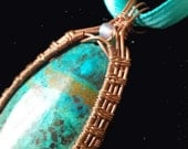 Blue-Green Chrysocolla Faery Glen Wire Wrapped Pendant with Labradorite Accent in Copper Wire, with Botanical Weave and Spiral Swirls