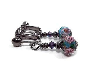Purple Blue Rose Clip on Earrings Flower Floral Jewelry Screw Back Retro Kitschy Womens Gift