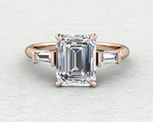 9x7mm Emerald Cut Forever One Moissanite 2 tapered baguettes  Classic 3 stone Engagement Ring