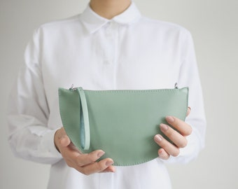 Mini Half Moon Clutch and Cross Body Bag Sage Green, Bridal Bag, Leather Clutch, Evening Bag, Leather Purse