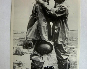 Anti Gas-Mask Protective Clothing Photo Postcard Photographed and signed by Norman Parkinson in 1938