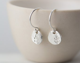 Tiny Leaf Earrings Sterling Silver, Summer Outdoors Party Jewelry, Hand Stamped Jewelry Gift for Her, Small Silver Dangle Earrings