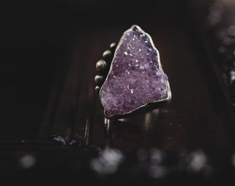Raw Amethyst Sterling Silver Ring-Amethyst Crystal Ring-February Birthstone Ring-Rough Amethyst Jewellery- Bohemian Rings