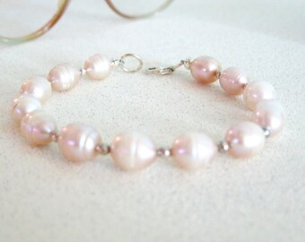 Pink Pearl Bracelet handmade Sterling Silver Wedding Jewelry Special Occasion freshwater pearl bridal jewelry gifts for women her under 30