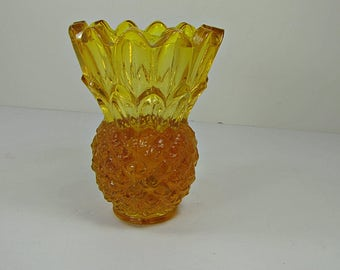 Vintage AMBER PINEAPPLE CANDLEHOLDER Taper Candle Holder Indiana Glass Tiara Vase