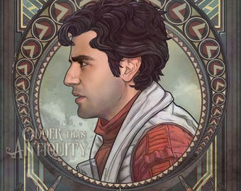 Poe Dameron Star Wars Episode 7 Force Awakens Oscar Isaac Rebel May the Fourth Illustration Portrait Poster Print - 4 Sizes Available