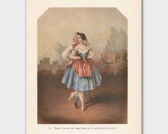 Ballet Wall Art, Ballerina Art Print, Romantic Ballet Print (Theatrical Dance, Vintage Book Plate