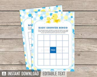 Baby Shower Bingo - Rubber Duck Baby Shower - Baby Shower Game - Rubber Ducky Party - INSTANT DOWNLOAD - Printable PDF with Editable Text