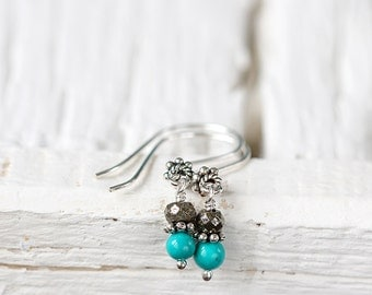 Silver Turquoise Earrings - Tiny Stone Earrings - Turquoise Drop Earrings - December Birthstone Earrings - Gemstone Earrings for Women