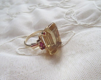 15% OFF SALE 14k Gold Genuine 19x14mm Citrine and 2mm Rubies Cocktail Ring Sz 8 1/2 Appraised! Fine Estate Jewelry