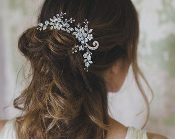 Garden jeweled hair pins, crystal headpiece for bride, set of two - style 507