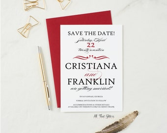Red and Black Save The Date Announcement, Gothic Save The Date Cards for Weddings, glitter Save The Dates, Save The Date Card, Cristiana