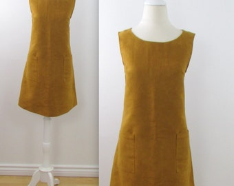 A Line Jumper Dress - Vintage 1970s Faux Suede Shift Dress in Golden Tan - Medium Large