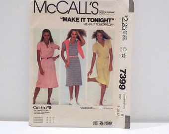 Polo T Shirt Dress Vintage McCalls 7399 Sewing Pattern Pullover Tennis Dress Preppy Hipster Athleisure Collared Knit Dress 80s Size 8 10 12