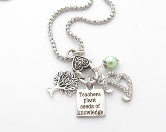 Teacher Gift, Personalized Teacher Necklace, Teacher Jewelry, Teachers plant seeds of knowledge, Gift from student, End of year appreciation