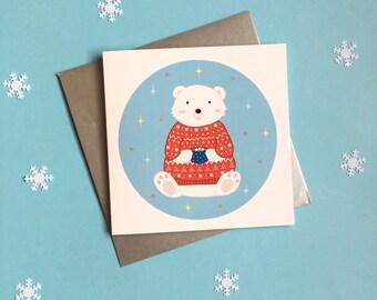 Winter Polar Bear Christmas Card