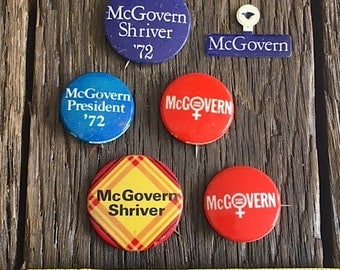 Vintage McGovern Presidential Campaign Buttons and Pins - Authentic Political Campaign Pins - Vintage McGovern Shriver Presidential Pins