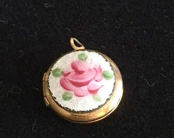 Small Vintage Flower Locket - Very Small Locket With Hand Painted Flower - Tiny Necklace Locket