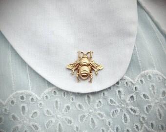 SALE beekeeper - golden honey bee brooch