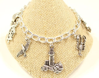 Lighthouse Jewelry Ocean Charm Bracelet  Silver Charm Bracelet New England Charm Bracelet Lobster Bracelet Crab Seaside Jewelry