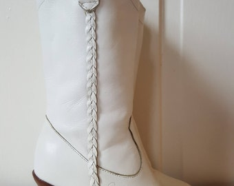 WESTERN WHITE BOOTS // Vintage 70's Candie's Leather Women's Cowboy Boots Size 5 Pointy Cowgirl Mid Calf Braided Wooden Stacked Heels
