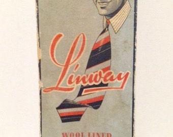 1930s Linway Cravats Box with 4 Deadstock ties