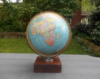 "Vintage Cram's Imperial World Globe 12"" Earth with Metal Double Axis Reclaimed Walnut  Base Travel Wedding Guest Book Alternative 1960s"