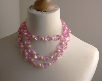 Short Length 1980s White and Pink Multi Layered Beaded Necklace Kitsch