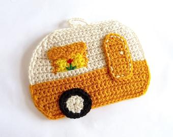 Camper Pot Holder Rv Pot Holder Hot Pad Crochet Pot Holder Hot Pad Potholder Retro Gold Camper Crochet Hot Pad Glamping Decor Gift