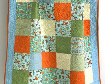 Baby Quilt featuring Hoot Hoot Hooray Owls by Shelly Comiskey for Henry Glass Aqua Blue Teal Green Orange Yellow