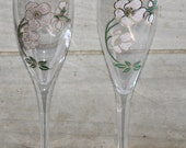 Perrier Jouet Champagne Flutes Set - Vintage Wedding - Wedding Toast Glasses - France - Hand Painted - Belle Epoque - Collectibles