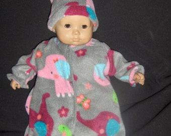 Grey Fleece Elephant bunting and Hat Doll Clothes Made To Fit Bitty Baby and Other 15 inch Dolls E1