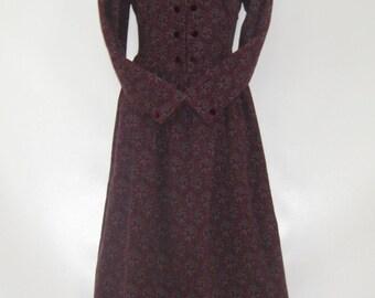 LAURA ASHLEY Vintage Fleur de Lis Paisley Autumn Winter Day Dress, UK 10