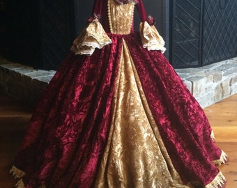 Christmas Belle Princess Gown Costume in Wine and Gold