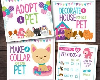 Pet Adoption Party, Puppy adoption party, Puppy birthday, Digital files, 4 prints, Instant download