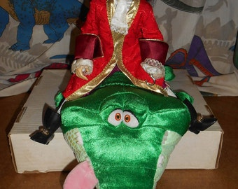 Rare PETER PAN Captain Hook doll and Tick Tock Crocodile Plush