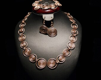 Copper Anniversary Gifts For Women, Copper Jewelry Set, Copper Jewelry, Wire Wrapped Jewelry Handmade, Unique Gifts For Women, Wire Jewelry