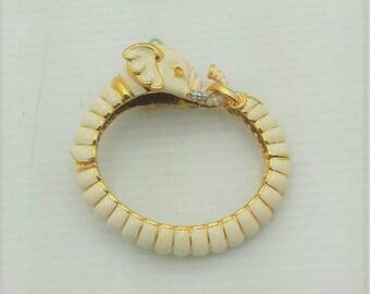 KJL Elephant Bracelet - Creamy White Hinged Bangle - S2083