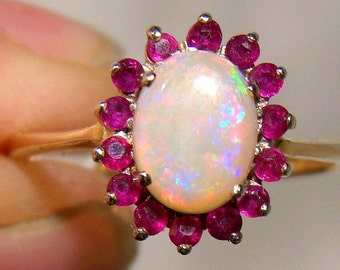 10K Opal and Rubies Oval Circlet Ring 1950s 1960 10 K Size 7