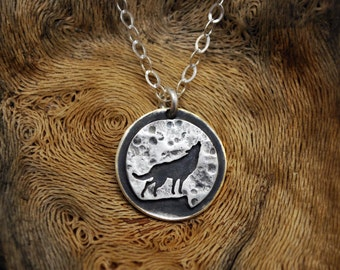 Wolf Moon Necklace - Sterling Silver Pendant - Full Moon Howling Wolf Silhouette - Portion of Proceeds to Wolf Sanctuary Charity