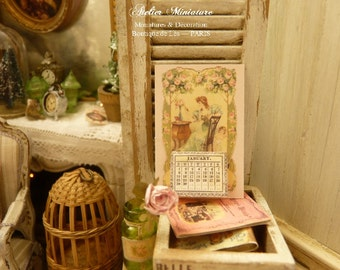 2017 miniature Victorian Calendar in paper, Ephemera lady under the rose garden, Collectible accessory for dollhouse in 1:12 th scale