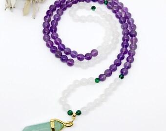 Amethyst Mala Beads Necklace, Healing Gemstone Mala, Capricorn Necklace, Zodiac Sign Mala Necklace, Meditation Beads, Birthstone Mala, MNAQ